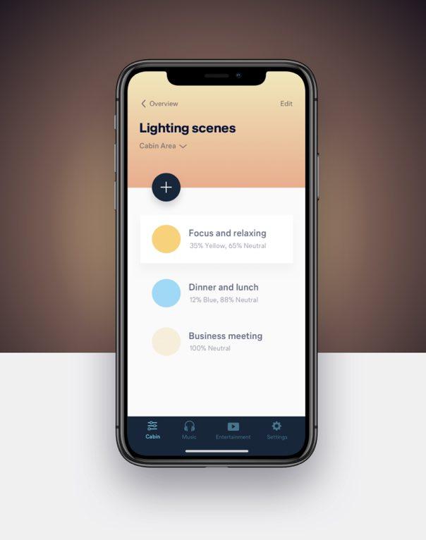 Smartphone mit Licht Steuerung User Interface Design