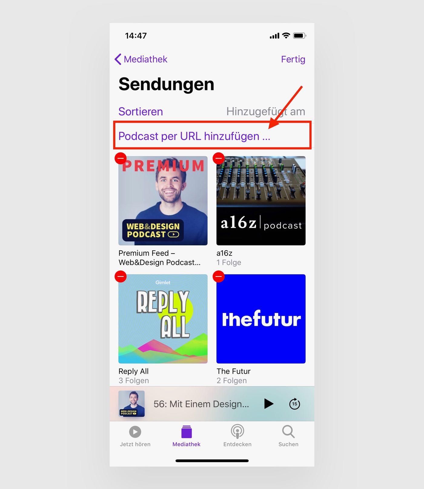 Schritt 2 Patreon Podcast abonnieren und in Apple Podcast App hinzufügen