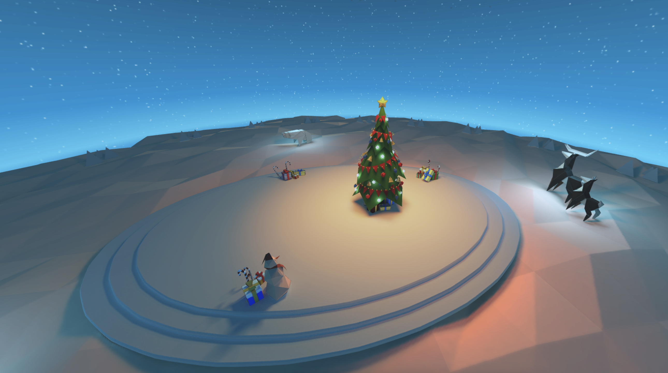 A 3D environment scene with snow and a tree with christmas decorations.