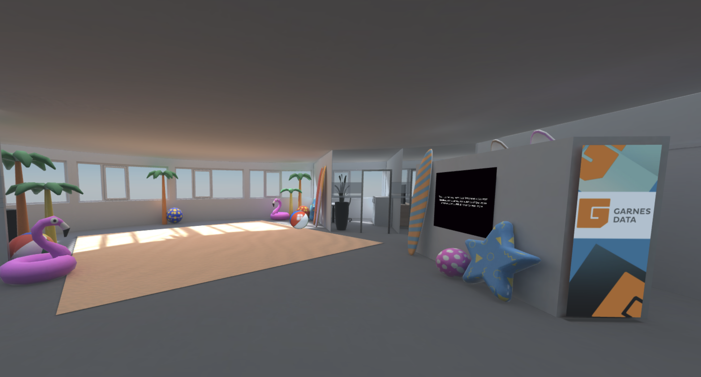 A 3D scene with a corporate office design.