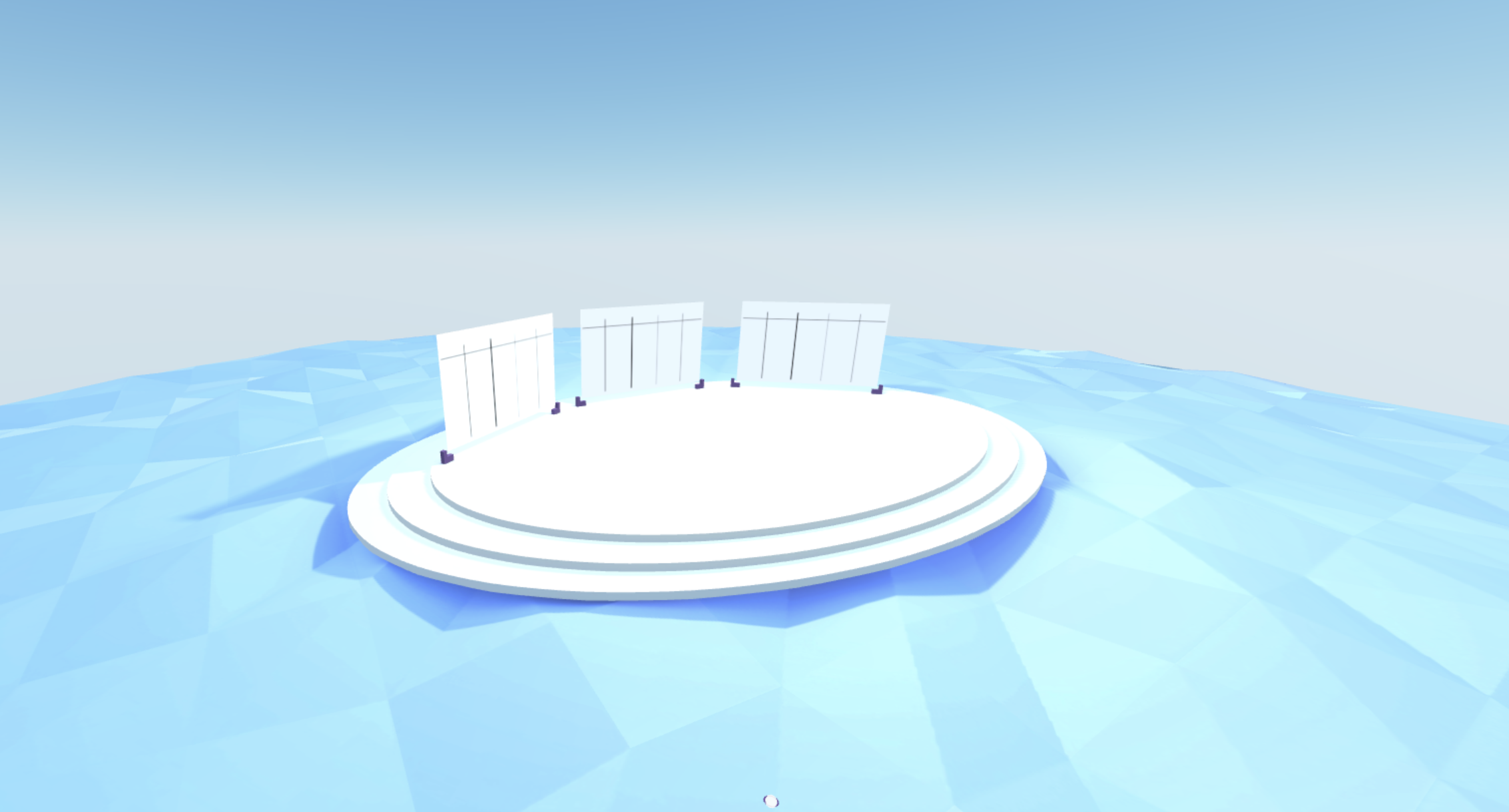 A 3D scene with open space, walls specifically for colaboration