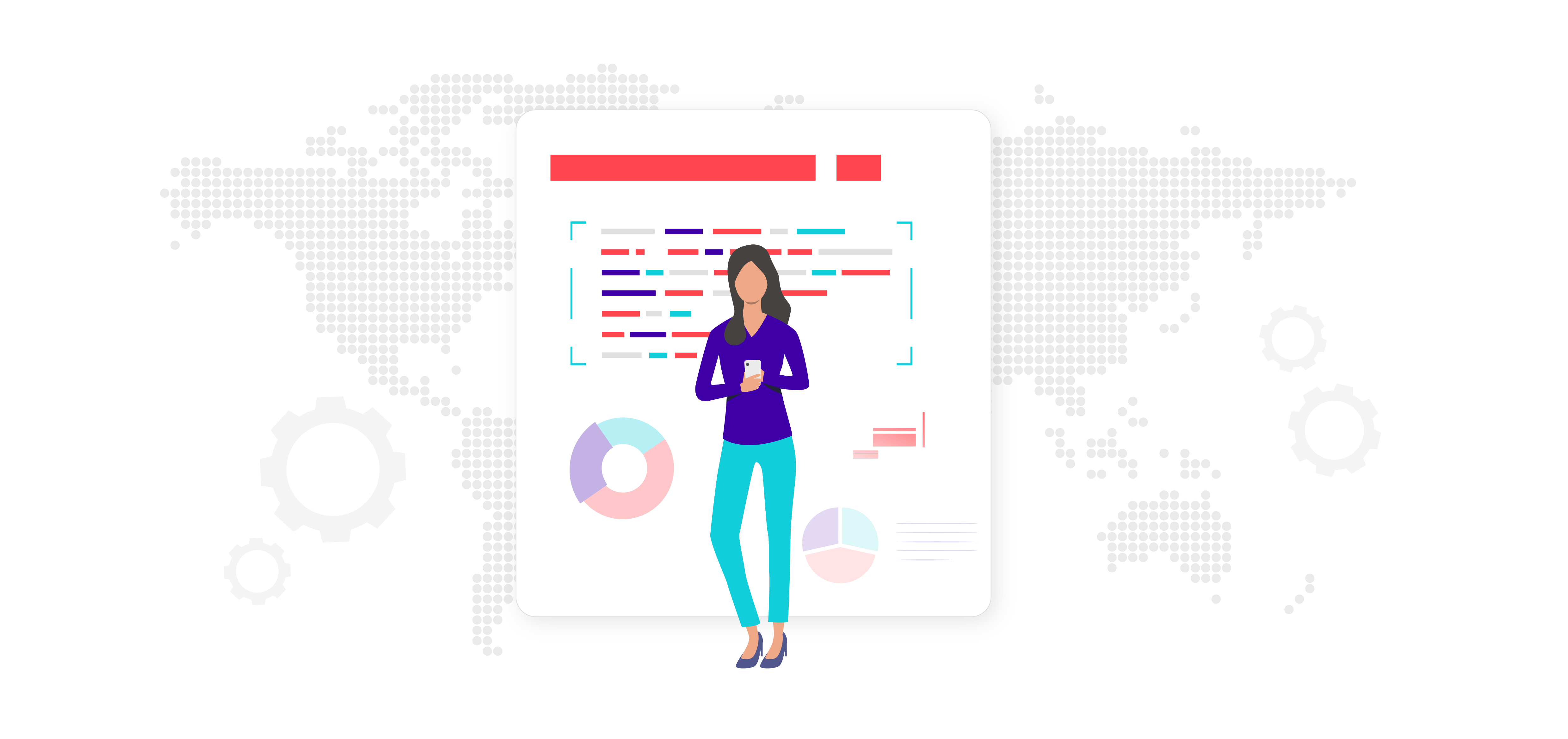 Woman standing in front of data screen