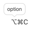 An example of a shortcut tooltip.