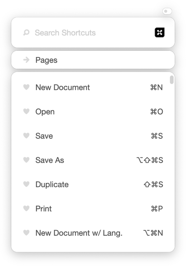 Button Shortcuts listing keyboard shortcuts for Pages.