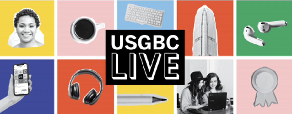 USGBC banner image featuring fun office supplies on a bright background