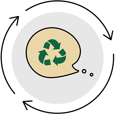 Icon of a recycle symbol within a conversation bubble