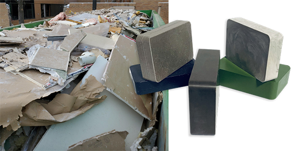 before and after photo of recycling materials and recycled bricks