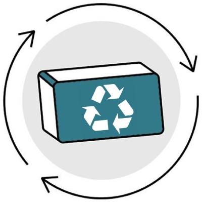 A three dimensional brick wth a recycling symbol