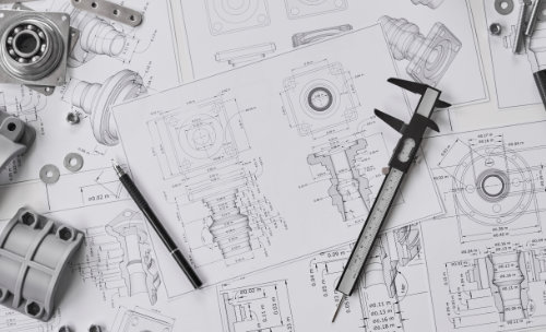 A set of manufacturing drawings.