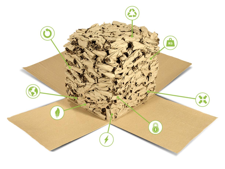 Paper Nuts interlocking paper packing peanuts.