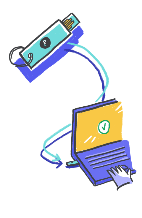 Illustration demonstrating where a security key is inserted into a laptop