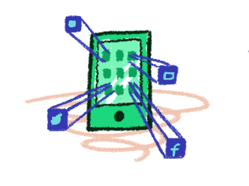 illustration of phone displaying social media apps
