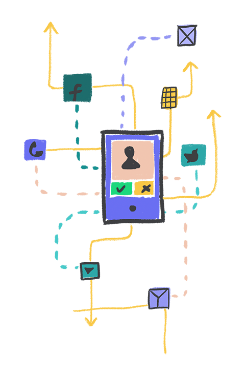 Illustration of a telephone with arrows pointing to various social networks.