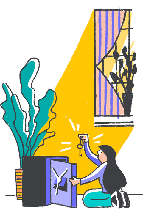 Illustration of a person with long hair putting a key in a safe