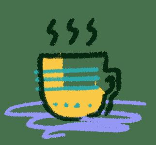 a mug with a warm drink such as tea or coffee