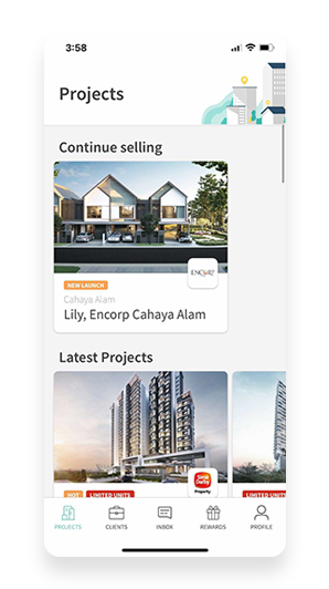 Mobile phone displaying the Didian App with various projects for agents to choose from.