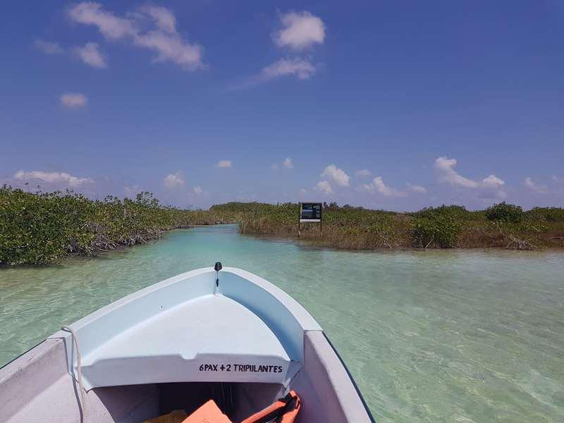 Sur le bateau direction la promenade flottante à Sian Ka An Mexique