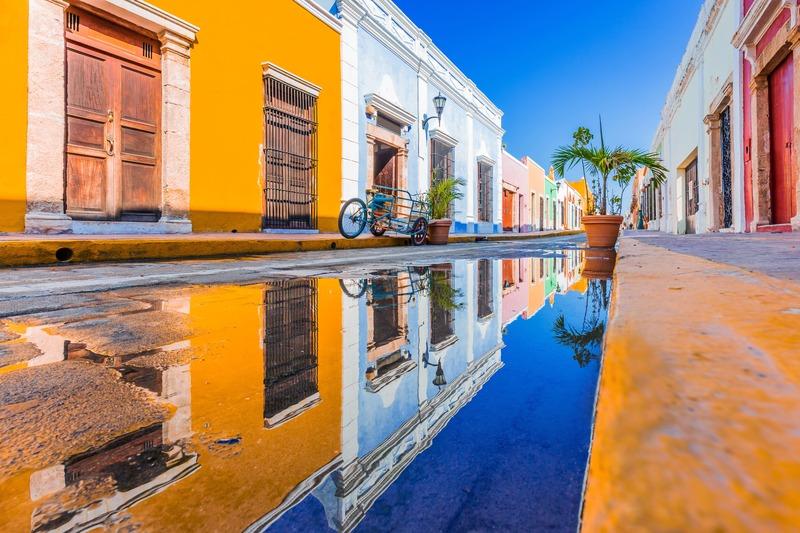 Couché de soleil dans les rues de Mérida dans le Yucatan au Mexique