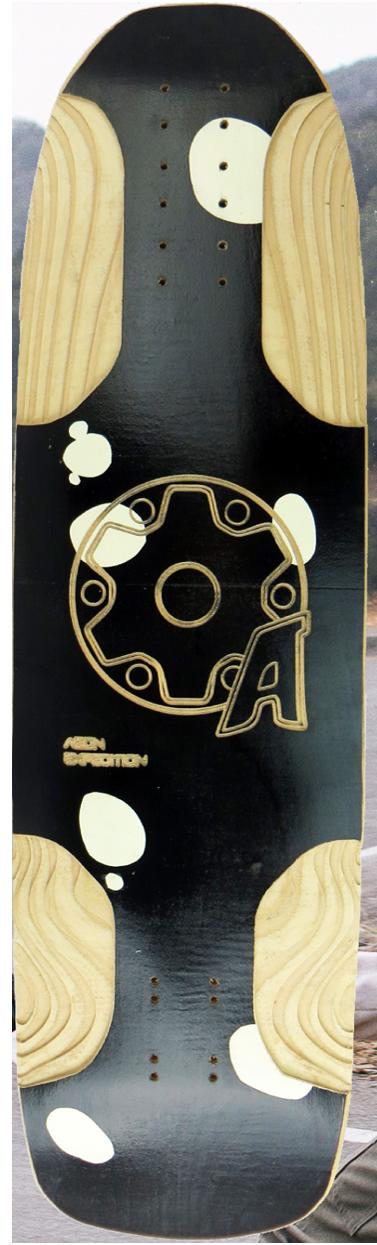 messenger skateboard black graphic with aeon logo