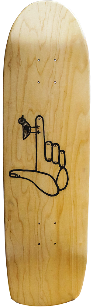 messenger skateboard, the graphic is a finger gun with a bird on the tip of the finger