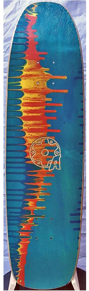 messenger board, blue graphic with orange and red tye dye splash