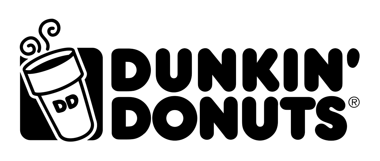 Dunkin Donuts logo with a cup on the left with DD on it full of steaming coffee