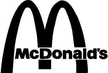 "McDonalds logo, arches with ""McDonalds"" font going across it."
