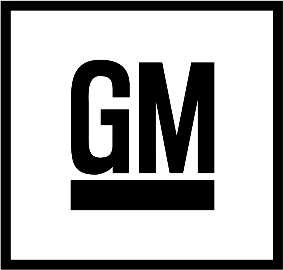 General Motors logo of GM within a square.