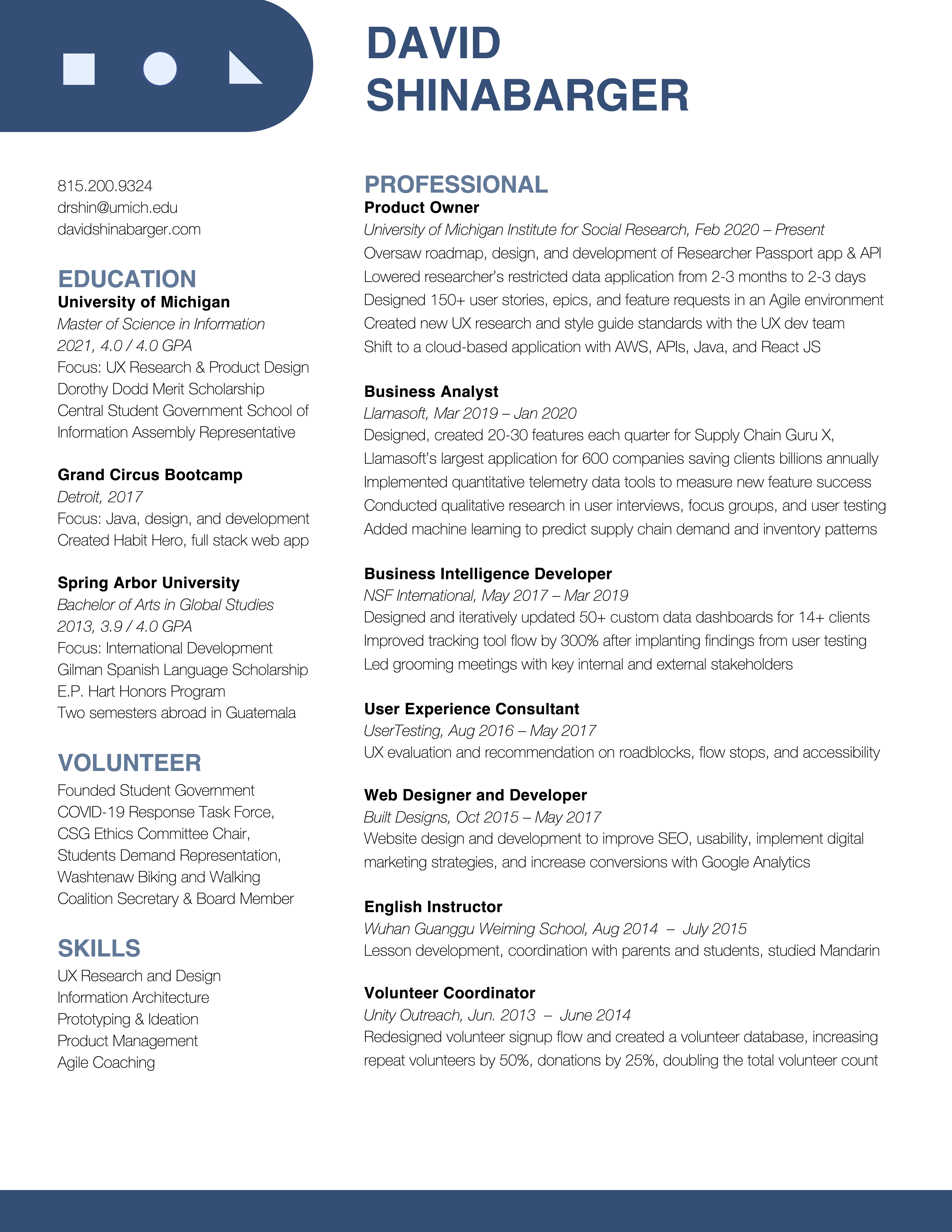 One page resume image