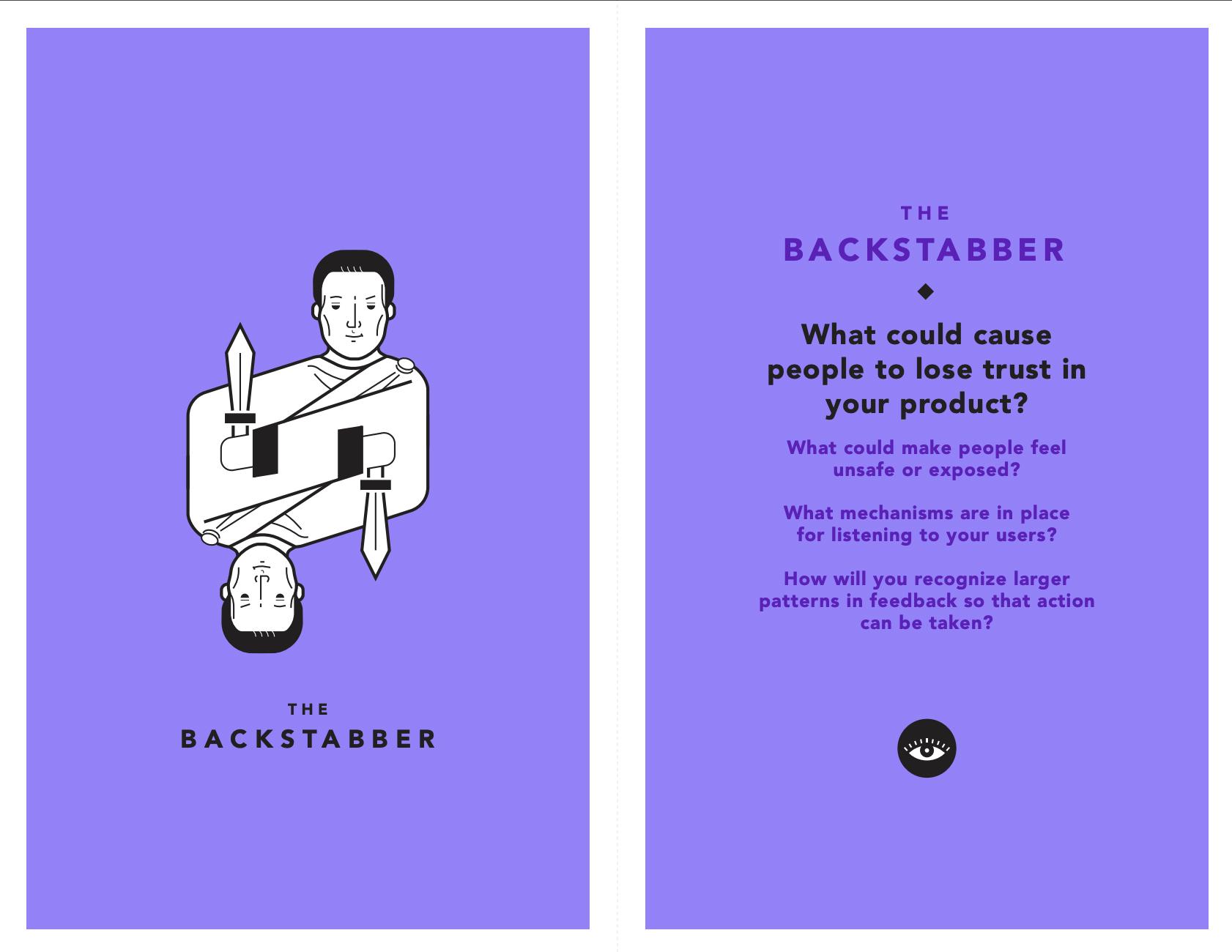 tarot cards of tech - The Backstabber