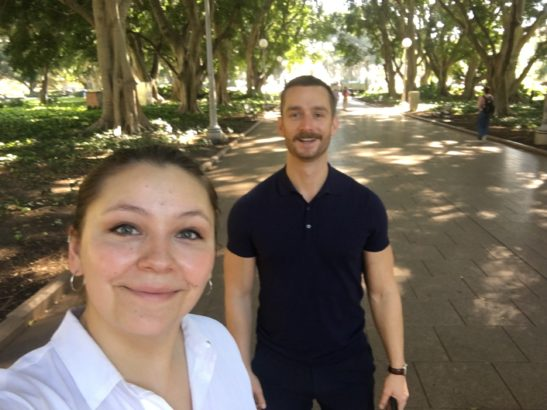 sophia and francois taking a walking meeting in the park