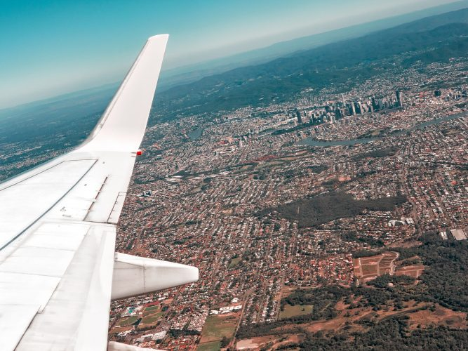 Image of an aerial view of Brisbane from an aeroplane | Brisbane spotlight article