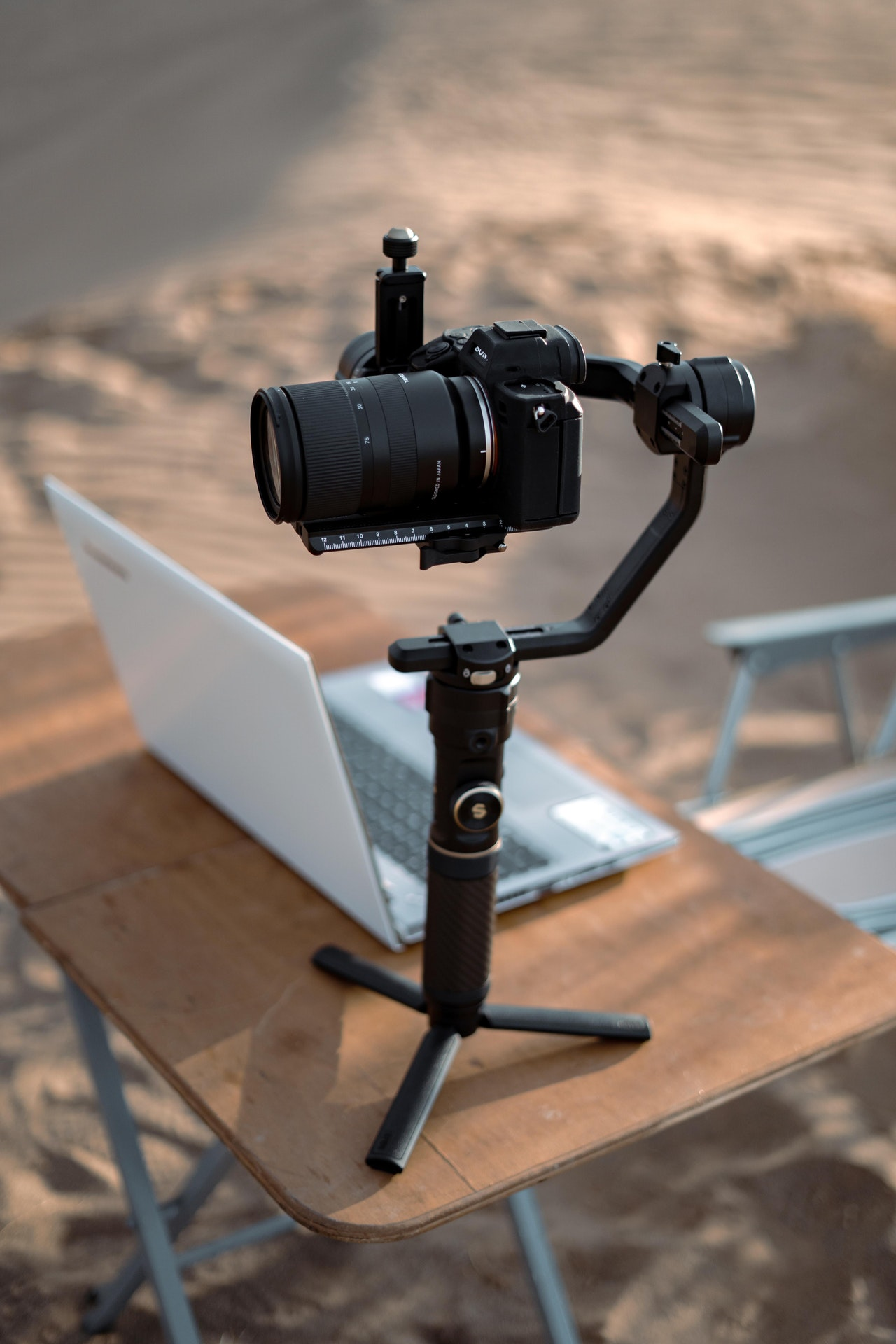 DSLR camera on a gimbal ready for filming