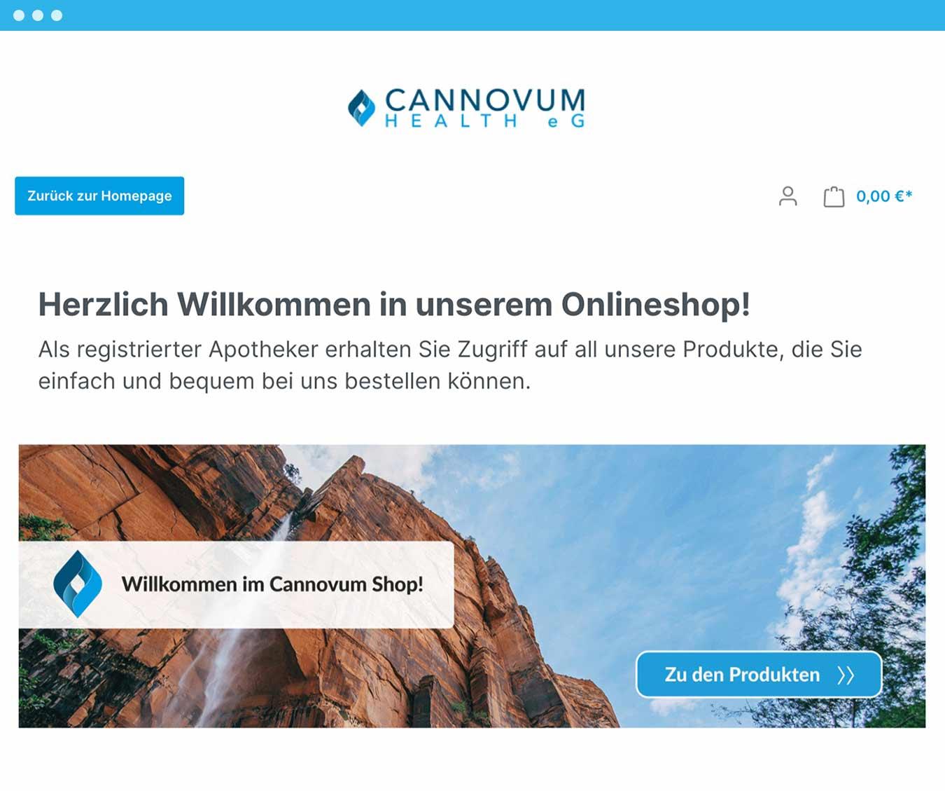Screenshot of Cannovum's Online Shop