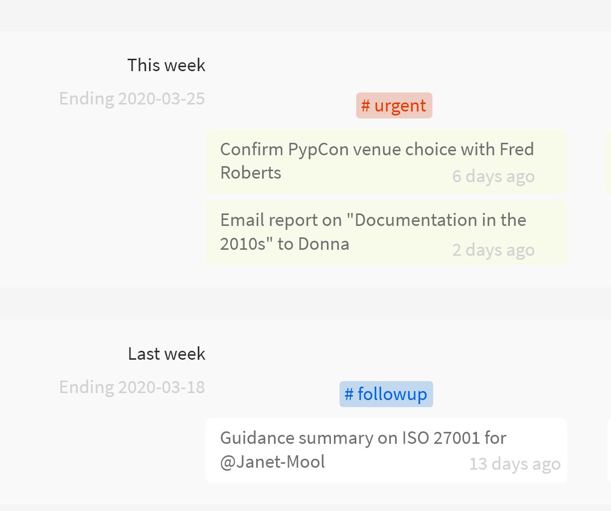 Screenshot of followups