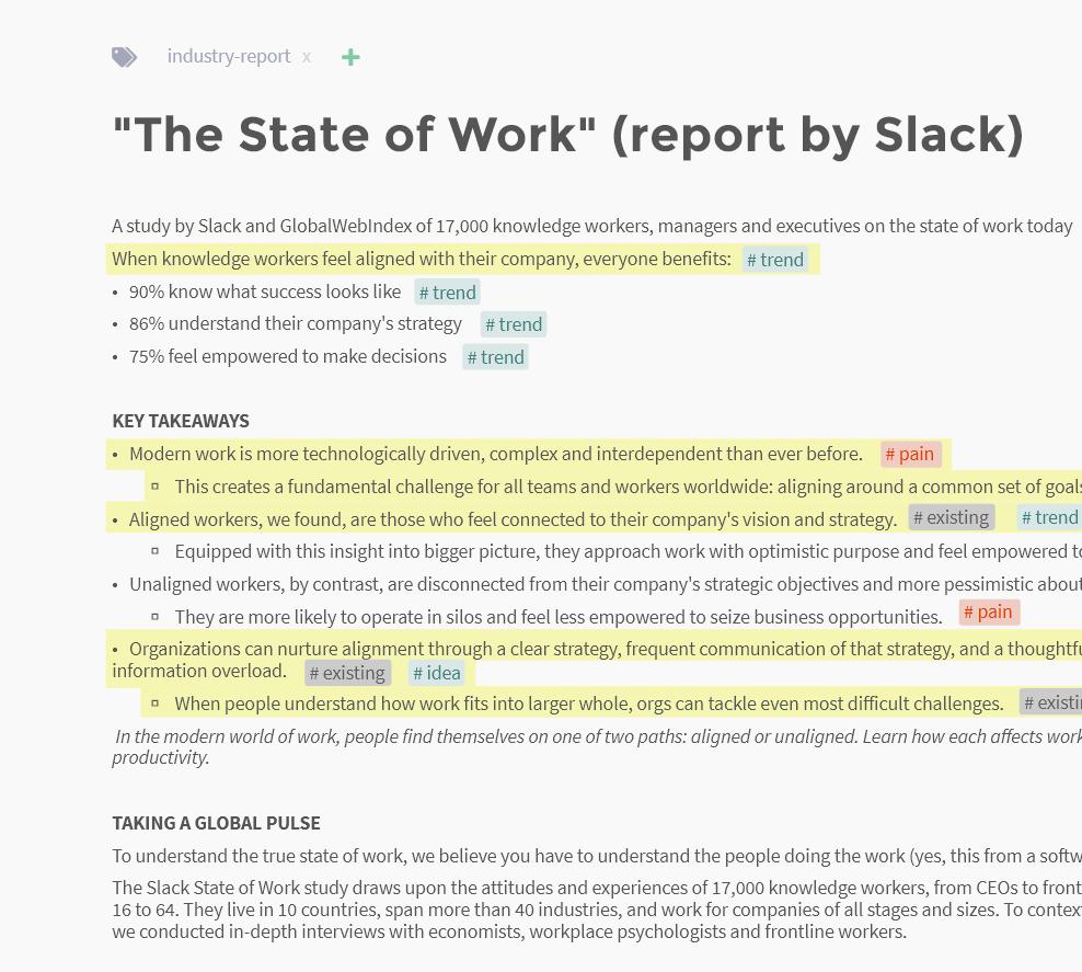 Screenshot of market report