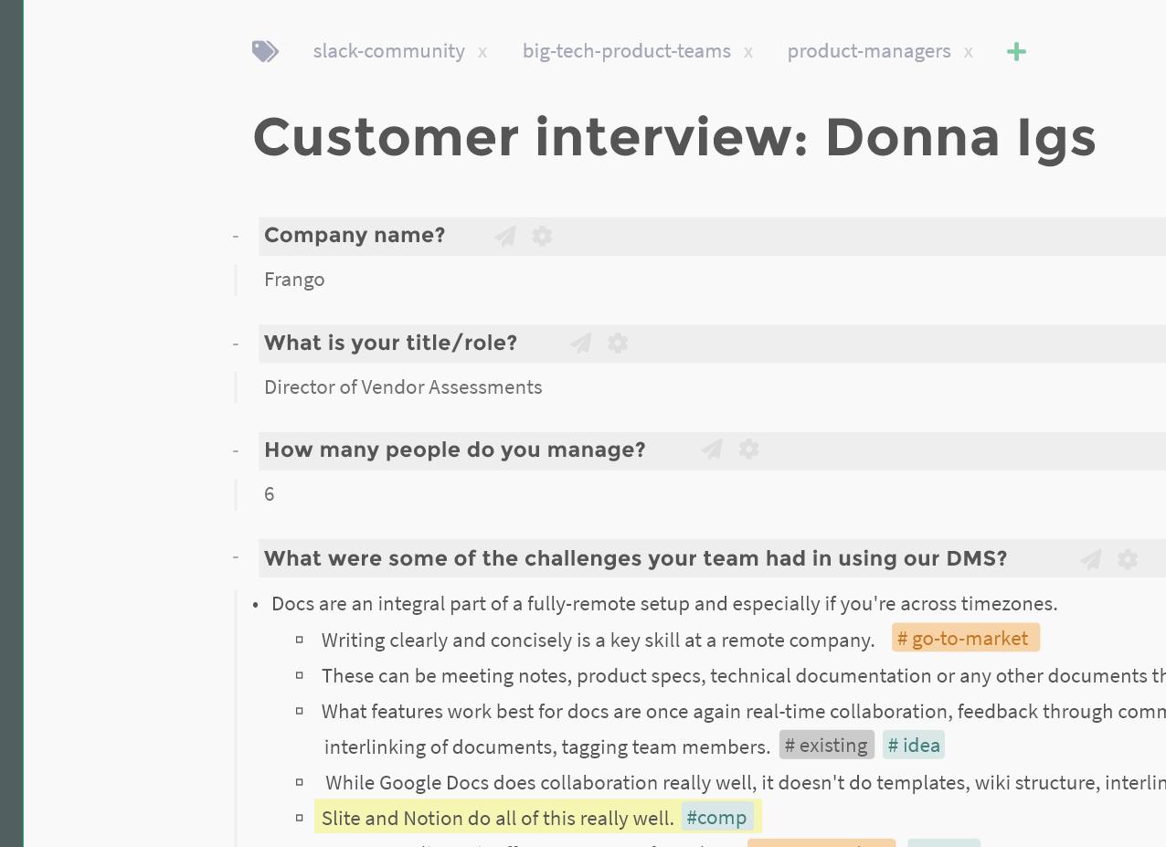 Screenshot of customer interview