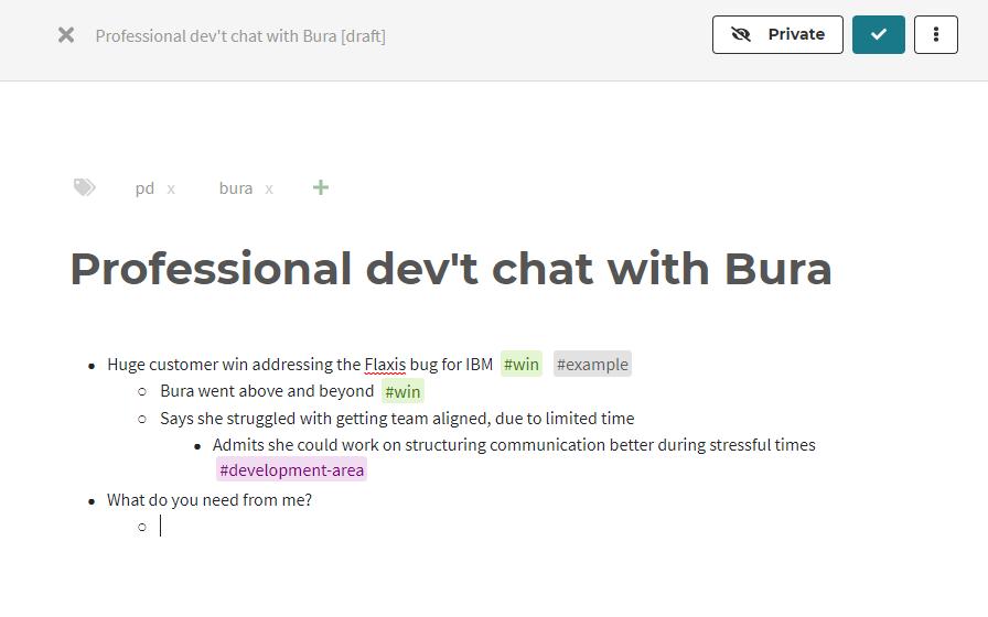 Screenshot of professional development chat