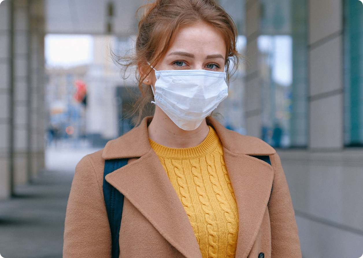 A woman with a facemask