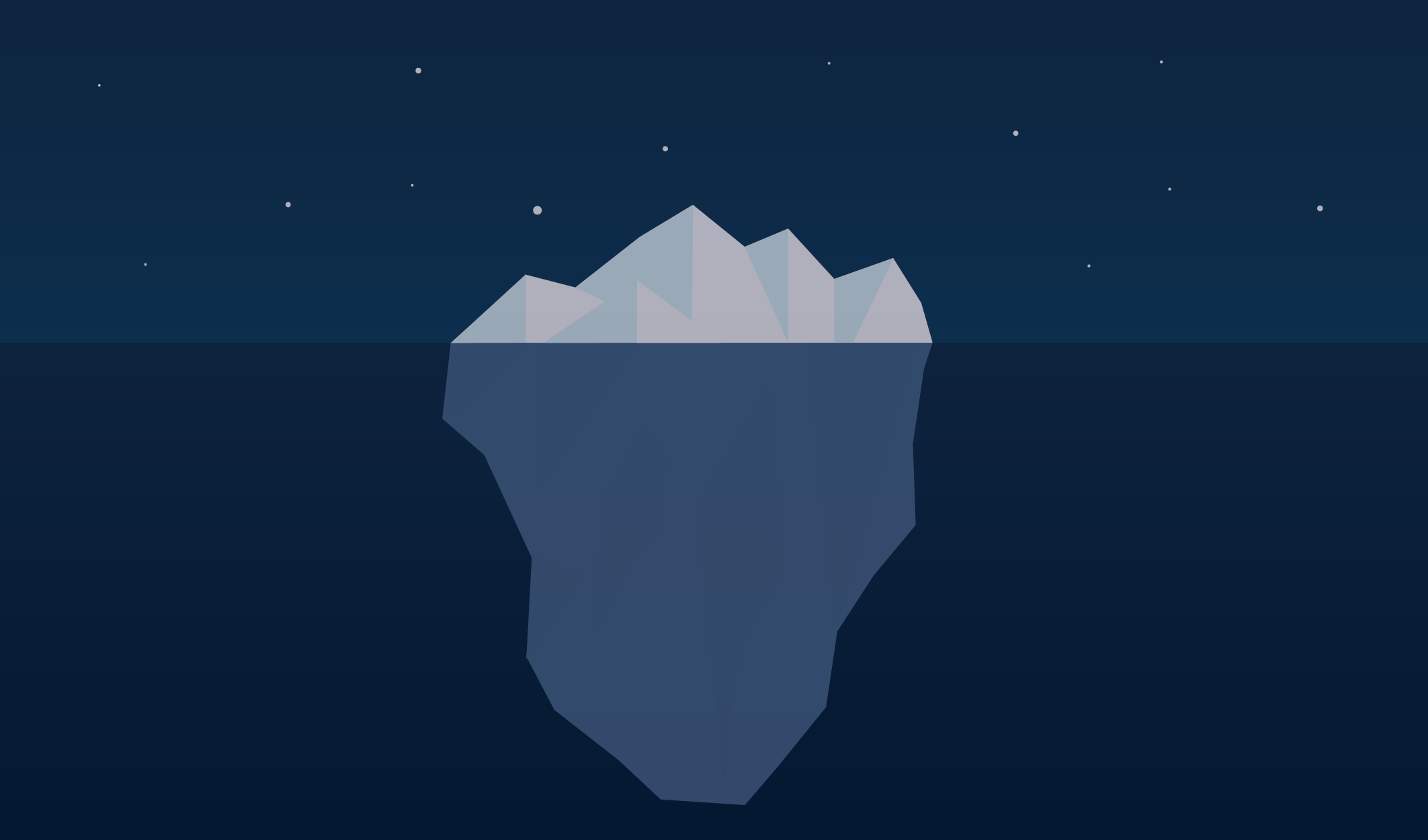 A graphic of an iceberg, representing hidden fees.