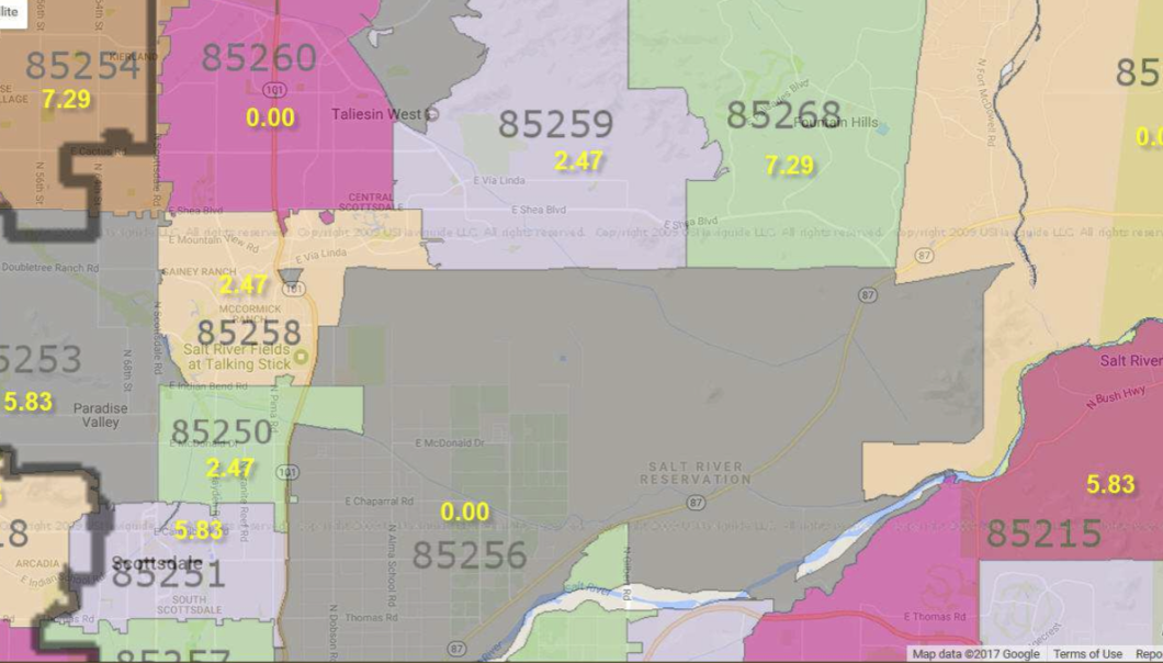 A map showing different regional sports fees in different zip codes. For example, $7.29 in zip code 85268 but $5.83 in zip code 85251.