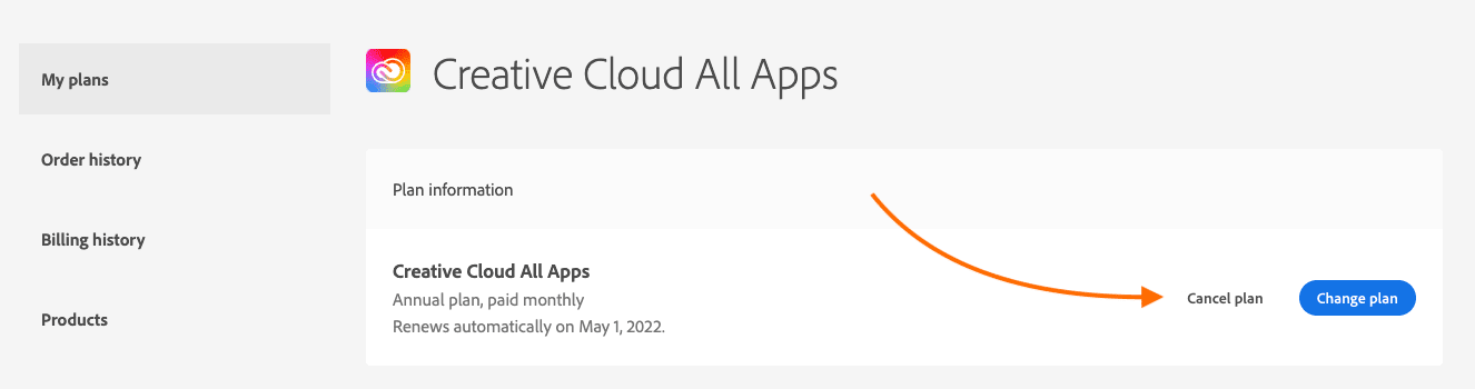 "Adobe Pricing Discount Step 1 Screenshot: Click ""Cancel Plan"""
