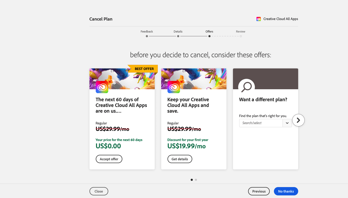 Adobe Pricing Discount Step 5 Screenshot: Select your preferred discounted offer