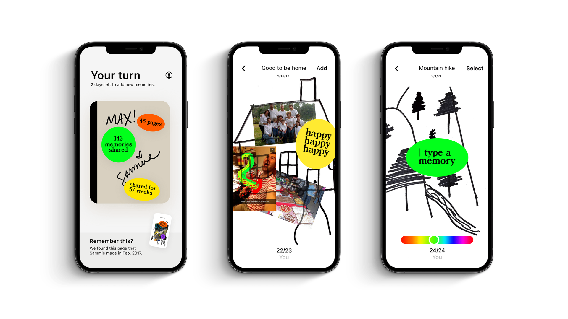 Home, journal and edit phone screens for Spaces app.