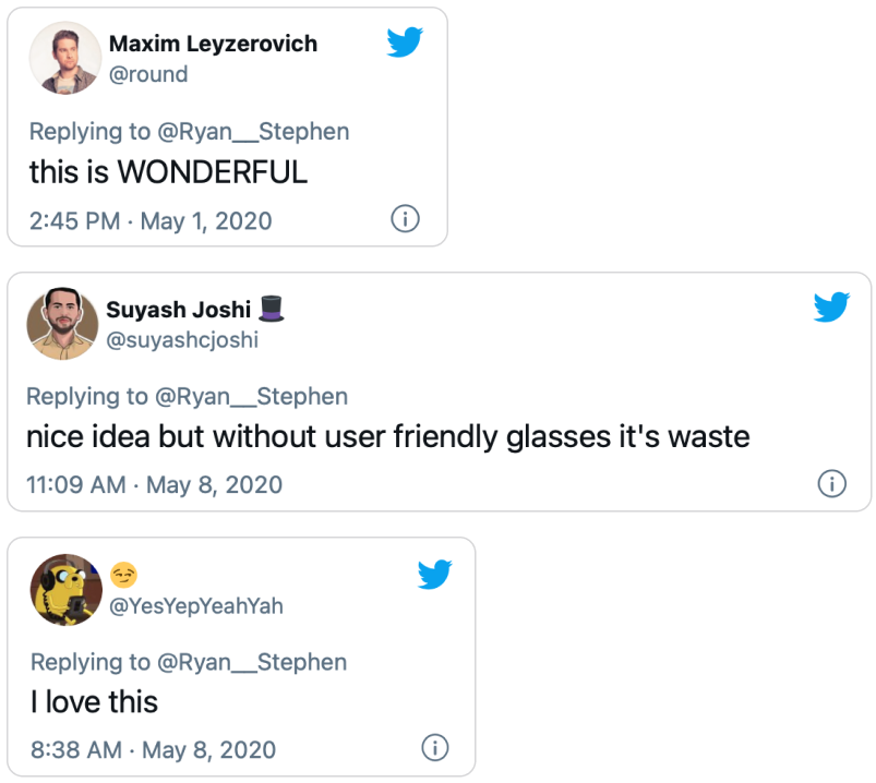 Three tweets discussing AR mobile extensions.
