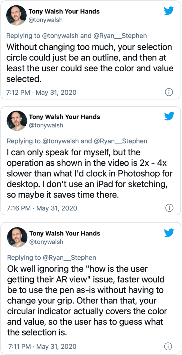 Three tweets from illustrator Tony Walsh discussing AR color possible improvements.