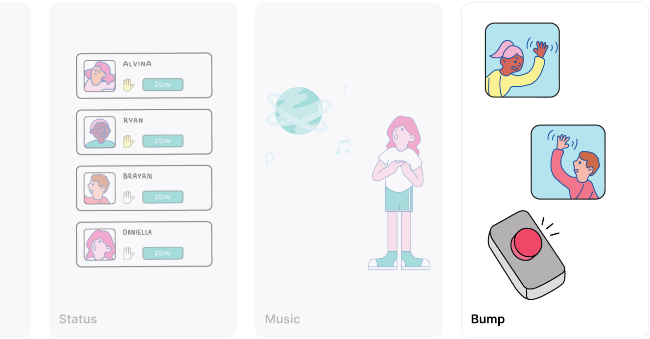 Illustrations for status, music and bump iteration ideas.