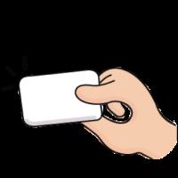 Illustration of hand holding card.