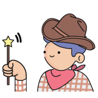 Illustration of cowboy holding wand.