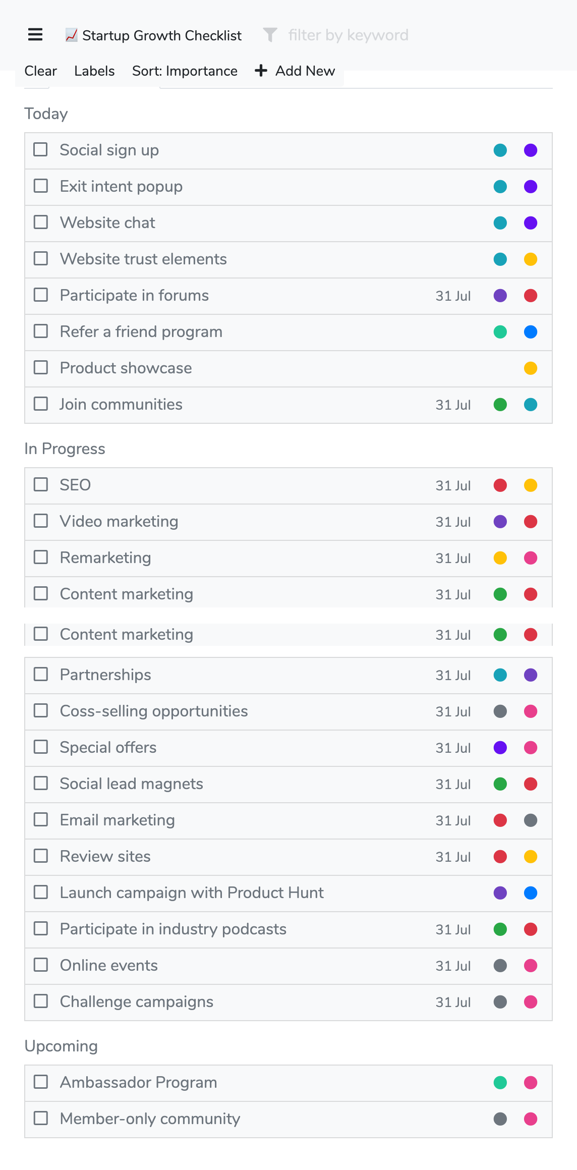 Startup growth checklist preview